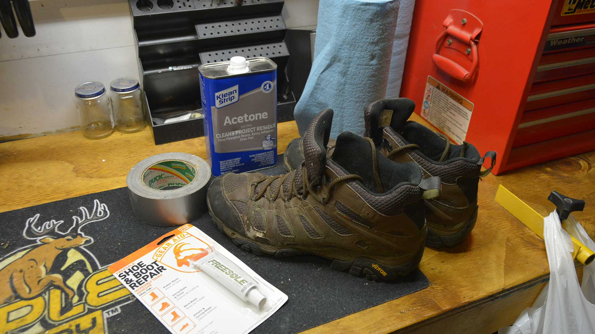 Pictured here is everything I needed to get the job done. While the instructions called for alcohol to clean the boot before repair I used Acetone because it's all I had handy in the garage. For what it's worth it seems to have worked just fine.